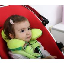Baby Car Seat Head Neck Support with Seat Belt Strap Cover Adjustable Infant Travel Pillow with Shoulder Harness Pads - Green Frog fits to 6-24 Months