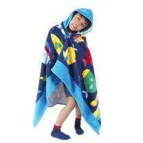 HOMFREEST Hooded Towel Toddler Boy Girls Beach Towel Soft Baby Bath Towel Multi-use for Bath/Pool/Beach/Swim Absorbent Fade Resistant 100% Cotton for Age 3-7 Years Kids Hooded Poncho Bathrobe
