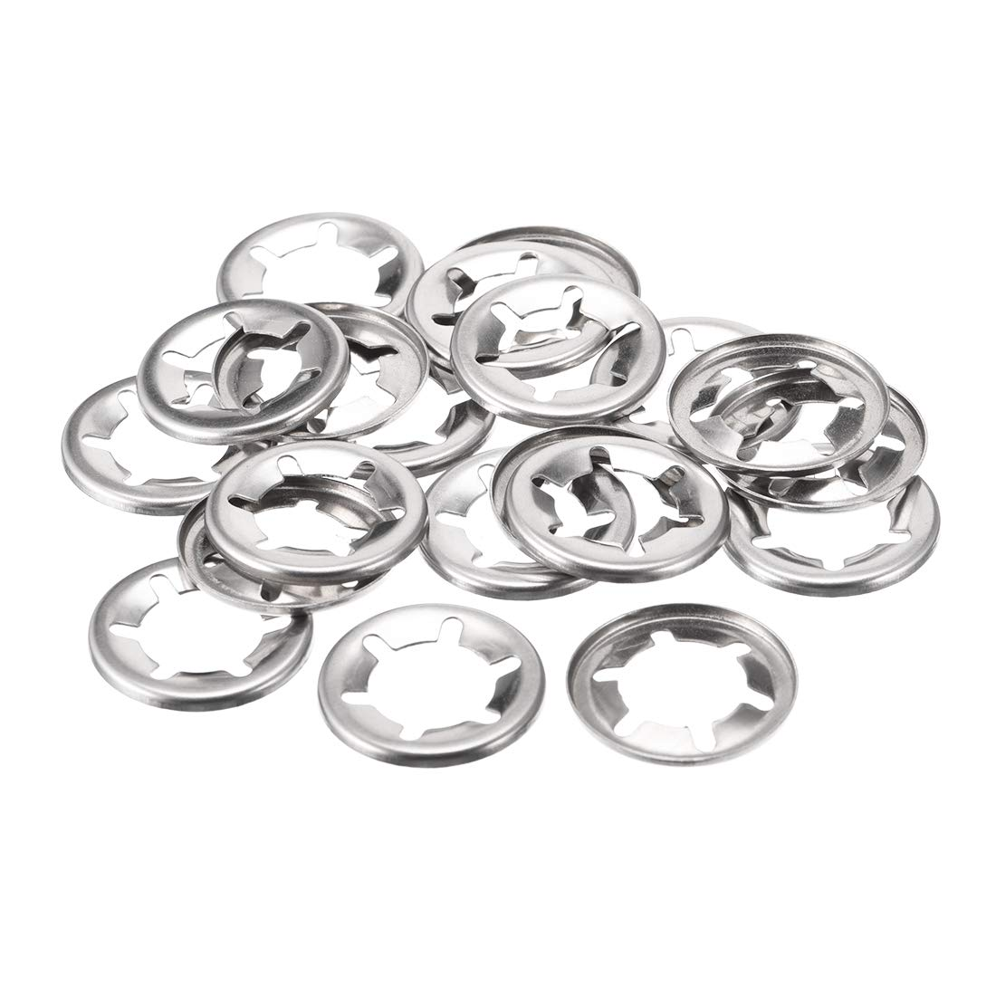 uxcell M16 Starlock Washer 15.3mm I.D. 28mm O.D. Internal Tooth Lock Washers Push-On Locking Speed Clip 304 Stainless Steel 20pcs