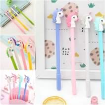 WIN-MARKET Horse Donkey Cute Kawaii Ballpoint Black Ink Gel Pen Cute Kids party Gift (6PCS)