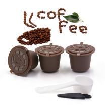 i Cafilas Reusable Capsules Refillable Coffee Pods Filter Compatible with Nespresso coffee machines with Coffee Spoon brush (3, Coffee)