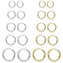10 Pairs Silver Gold Hoop Earrings for Women, Small Stainless Steel Hypoallergenic Earrings Set Girls Nickel Free,10MM-18MM
