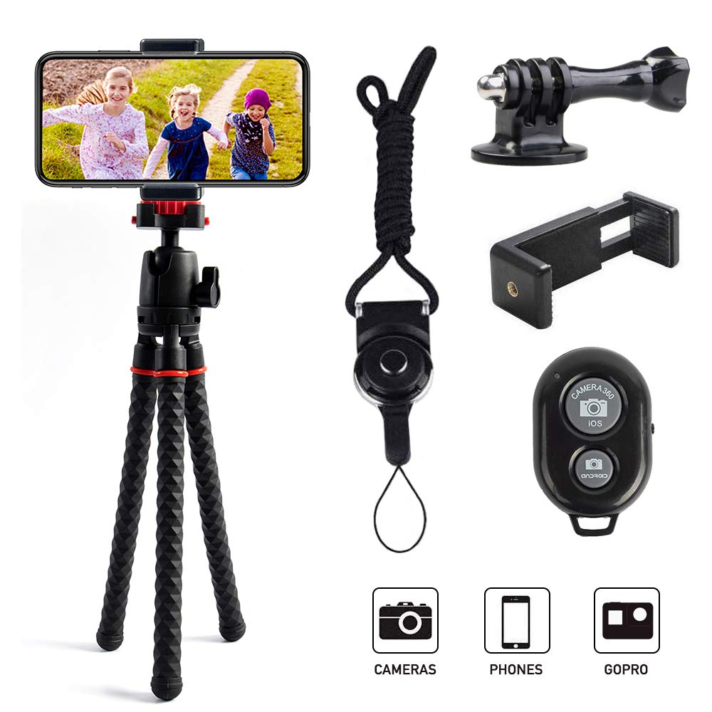Phone Tripod LINKCOOL 360 Degree Rotation Flexible Octopus Travel Tripod for iPhone/Smartphone/Ipad/DSLR/Sports Action Camera with Bluetooth Wireless Remote Shutter - Black