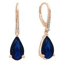 Dazzlingrock Collection 18K 14X8 MM Each Pear Lab Created Gemstone & Round White Diamond Teardrop Dangling Drop Earrings, Rose Gold