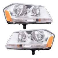 Replacement Set Driver and Passenger Halogen Headlights with Chrome Bezel Compatible with 2008-2014 Avenger 5116203AE 5116202AE