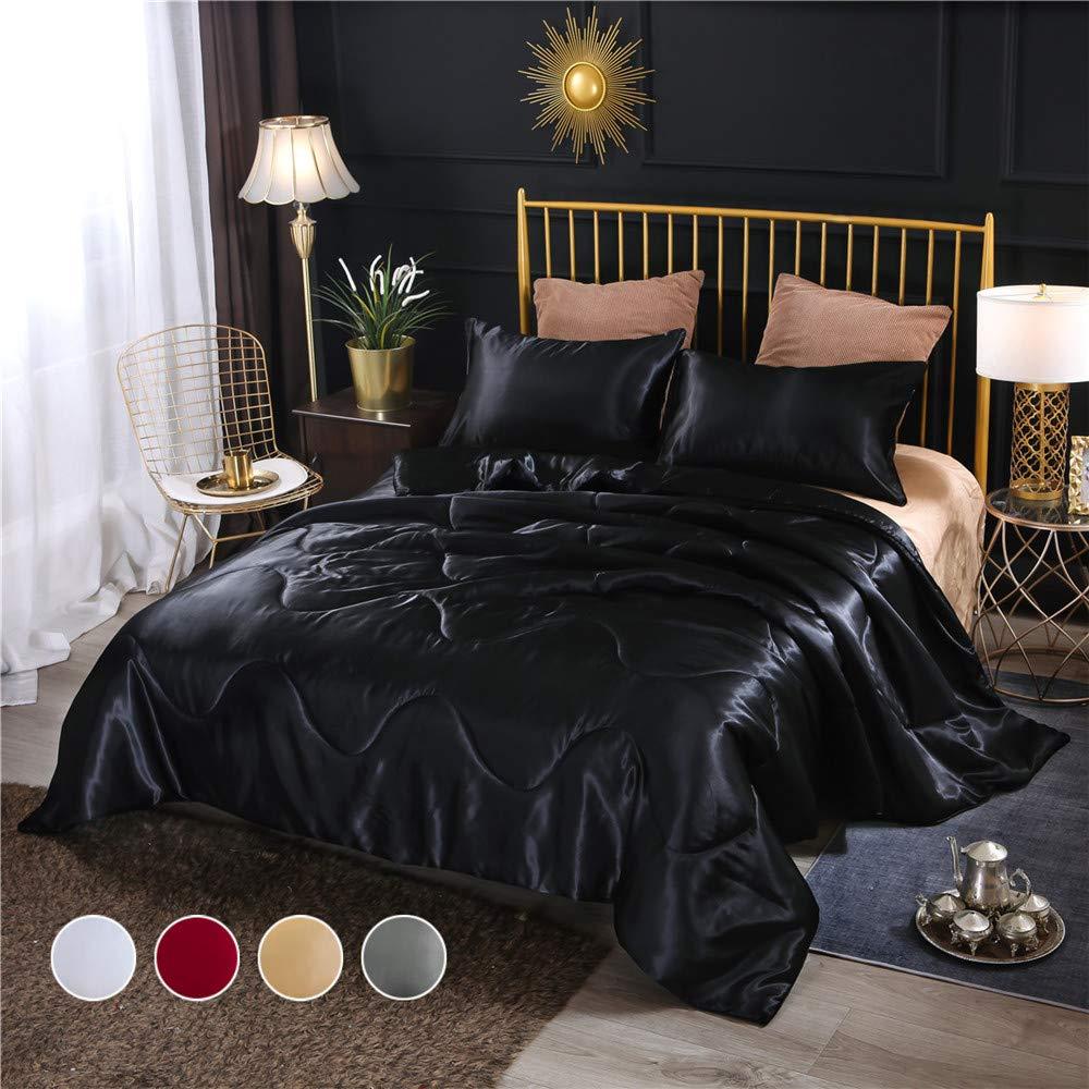 Holawakaka Solid Satin Silk Like Quilt Set Luxury Ultra Soft Silky Comforter Pillowcase Queen Size Bedding Set (Black)