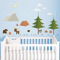 decalmile Woodland Animals Wall Stickers Camping in The Mountains Decor Pine Tree Wall Decals for Kids Bedroom Nursery Baby Room