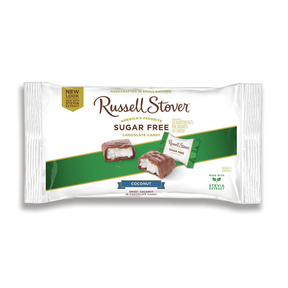 Russell Stover Sugar-Free Laydown Bag Coconut 10 Ounce Russel Stover Sugar-Free Candy, Coconut Chocolate Candy Pack, Sweet Coconut Covered in Chocolate, Individually Wrapped and Sweetened with Stevia