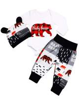 Newborn Baby Boys Clothes Baby Bear Letter Print Romper+ Pants+Hat 3PCS Outfits Set