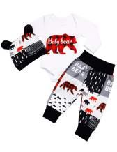 Newborn Baby Boys Clothes Baby Bear Letter Print Romper+ Pants+Hat 3PCS Outfits Set
