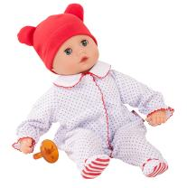 """Gotz Boy Muffin 13"""" - Bald Soft Body Baby Doll in Red White & Blue Footed Pajamas with Blue Sleeping Eyes"""