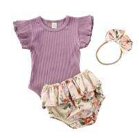 Newborn Baby Girls 2pcs Summer Outfits Ribbed Bodysuit Romper with Floral Leopard Ruffle Short+Headband