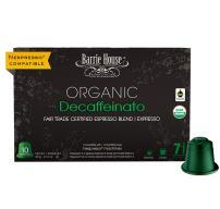 Barrie House Fair Trade Organic Decaffeinato Espresso Capsules | 40 Pods Per Pack | Compatible with Nespresso OriginalLine Coffee Machines