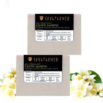 Jasmine Handmade Soap with Coconut Oil, (5.3 Oz 2 Bars) Natural, Organic, Vegan & Cold-processed, USFDA approved, Chemical and Preservative Free, Indian Formulation