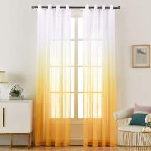 """LoyoLady Ombre Sheer Curtains for Girls Bedroom, Amber Yellow Sheer Curtains 84 inches Long, Grommet Nursery Drapes for Living Room, Set of 2 Panels 52"""" W x 84"""" L"""