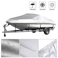 Kayme Trailerable Runabout Boat Cover Waterproof, Sun Rain Uv Protection, Fit V-Hull Tri-Hull Fishing Ski Pro-Style Bass Boats