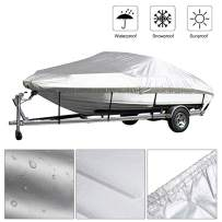 Kayme Trailerable Runabout Boat Cover Waterproof, Sun Rain Uv Protection, Fit V-Hull Tri-Hull Fishing Ski Pro-Style Bass Boats