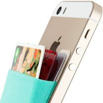 Credit Card Wallet, Sinjimoru Stick-On Wallet Functioning as Wallet case, Credit Card Case on iPhones and Androids. Sinji Pouch Basic 3, Mint.