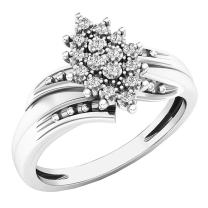 Dazzlingrock Collection 0.10 Carat (ctw) 10K Gold Round White Diamond Ladies Cluster Flower Ring 1/10 CT