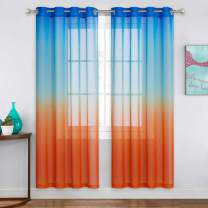 NICETOWN Navy and Orange Pmbre Curtains 72 inch for Boys Room Decor, Hot Air Balloon Themed Sheer Curtains for Living Room Baby Nursery, Window Sheer Colorful Kids Curtains (55 inch Wide, 2 Panels)