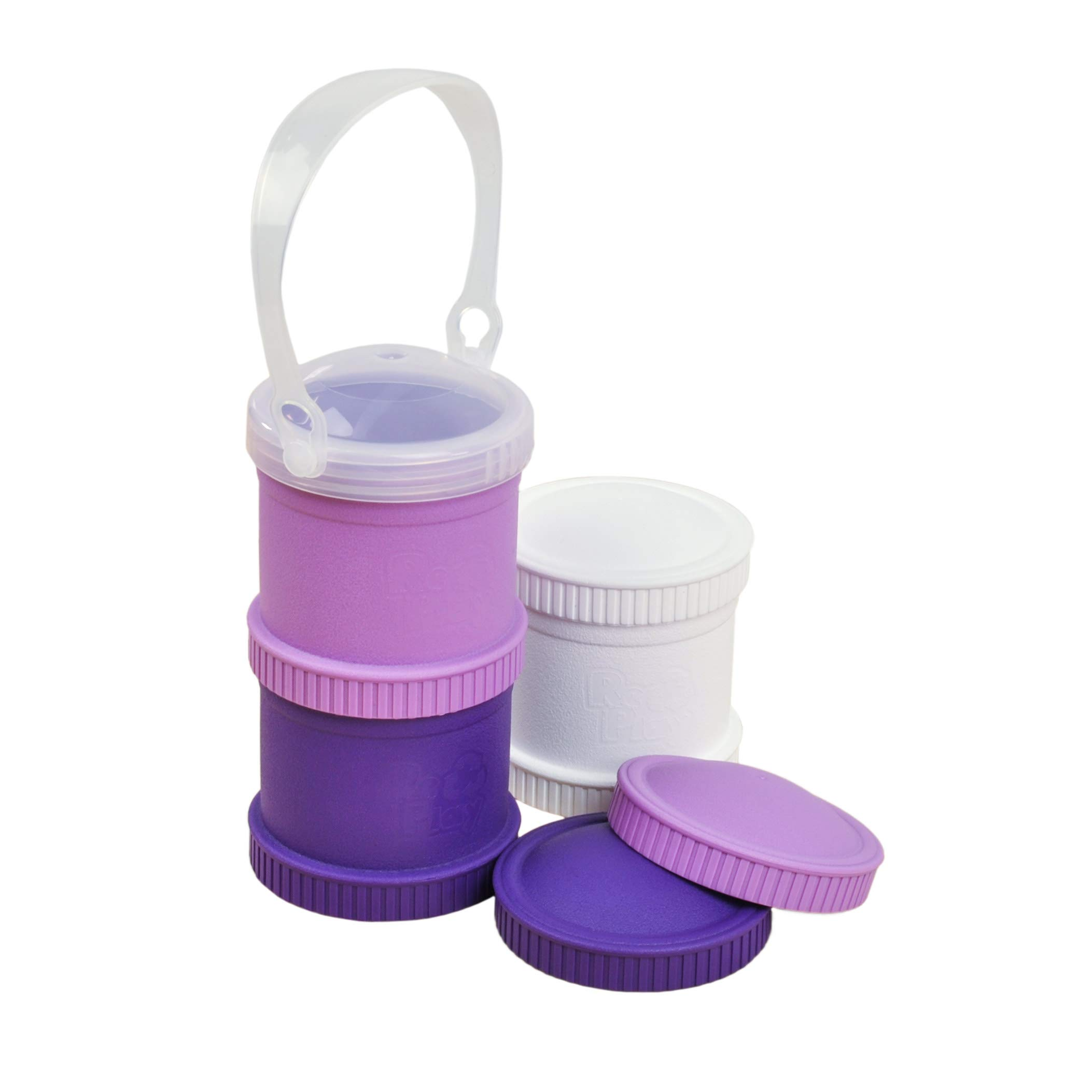 Re-Play Made in The USA 7 Piece Stackable Food and Snack Storage Containers for Babies, Toddlers and Kids of All Ages - White, Purple, Amethyst (Violet)