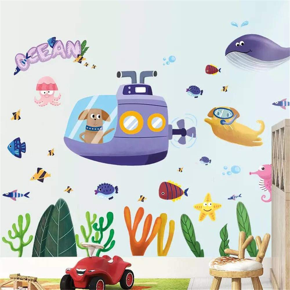 DERUN TRADING Cartoon Fish Wall Stickers for Kids Under The Sea Wall Decals for Toddlers' Bathroom Bedroom Window Bathtub Baby's Nursery Children's Classroom Removable Peel and Stick Ocean Decor
