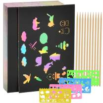 YANSHON 100 Piece Rainbow Magic Scratch Paper, Black Doodle Pad with Rainbow Background for Kids, Scratch Off Art Notes Boards with 10 Wooden Stylus and 4 Drawing Stencils