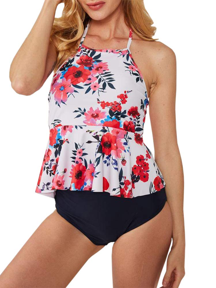 Womens High Waisted Peplum Tankini Bikini Sets Retro Backless Floral Ruffle Two Piece Swimsuits