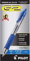 PILOT G2 Premium Refillable & Retractable Rolling Ball Gel Pens, Ultra Fine Point, Black Ink, 12-Pack (31277)