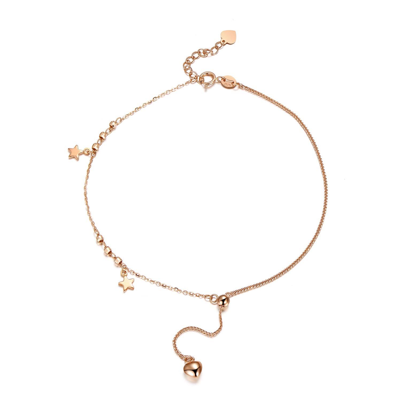 """SISGEM 18k Gold Star Bracelet and Anklet for Women, Real Rose Gold Ankle Bracelet Adjustable, 5""""-10.5"""""""