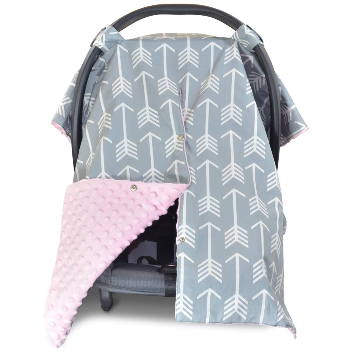 2 in 1 Carseat Canopy and Nursing Cover Up with Peekaboo Opening   Large Infant Car Seat Canopy for Girl or Boy   Best Baby Shower Gift for Breastfeeding Moms   Arrow Pattern with Soft Pink Minky