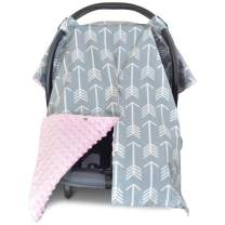 2 in 1 Carseat Canopy and Nursing Cover Up with Peekaboo Opening | Large Infant Car Seat Canopy for Girl or Boy | Best Baby Shower Gift for Breastfeeding Moms | Arrow Pattern with Soft Pink Minky