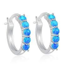 CiNily Small Hoop Earrings for Women Sterling Silver or Rose Gold Plated Opal Hypoallergenic Earrings Gemstone Huggie Hoop Earrings 18mm
