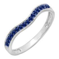 Dazzlingrock Collection 0.15 Carat (ctw) 10K Gold Blue Sapphire Ladies Anniversary Wedding Band Guard Ring