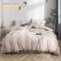 BISELINA 100% Washed Cotton Linen Like Duvet Cover Set 2pcs - Twin - Bowknot Ties Strap Design Yarn Dyed Striped Reversible Soft Cozy Bedding Set - Cream Tan