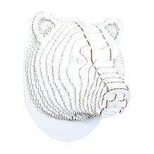 Cardboard Safari Recycled Cardboard Animal Taxidermy Bear Trophy Head, Stewart White Large