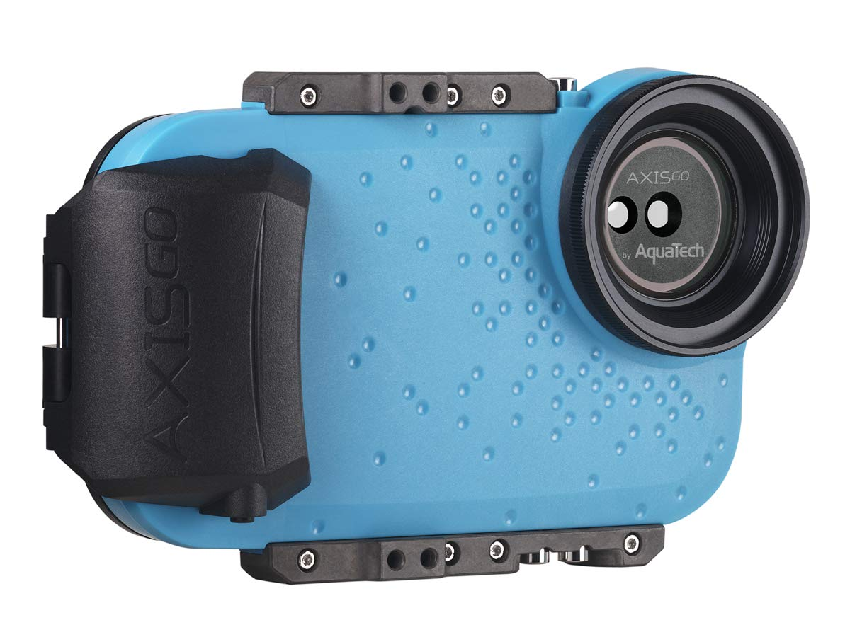 AquaTech AxisGO iPhone 11 Pro Max/iPhone 11 / iPhone Xs Max/iPhone Xr Waterproof Phone Housing for Underwater Action Photography Snorkeling Surfing Travel Case - Electric Blue