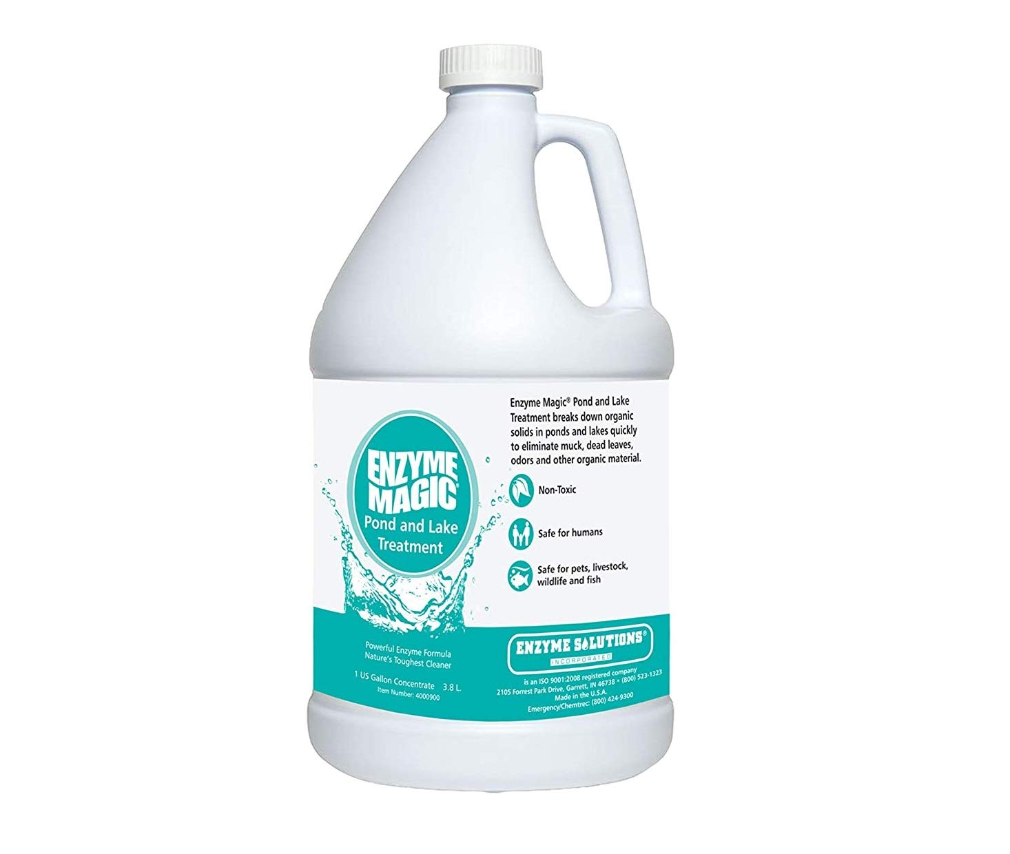 ENZYME MAGIC Pond and Lake Treatment; Enzyme Fomula Breaks Down Organic Solids to Eliminate Muck, Sludge, Fish Waste, Plant Decay, Organic Debris & Odors; Cleans 1 Acre Foot Water (1 Gal Concentrate)