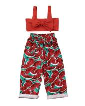 2PCS Baby Girls Toddlers Summer Outfits,Strap Bowknot Top + Watermelon Pants