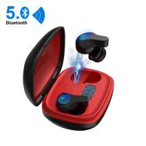 Bluetooth 5.0 Wireless Earbuds with Portable Charging Case IPX5 Waterproof TWS Stereo Headphones in Ear Built in Mic Headset Premium Sound with Deep Bass for Sport Black