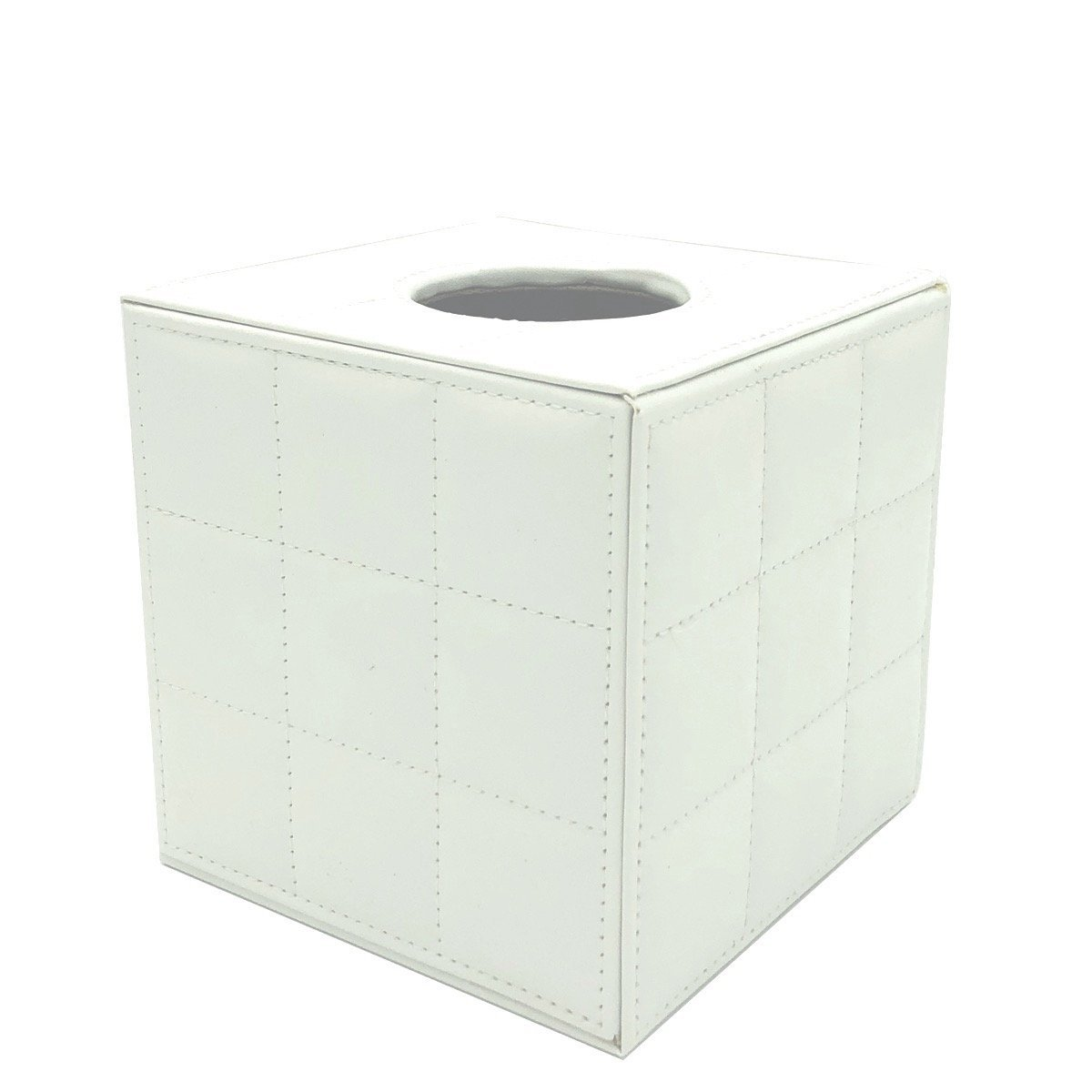 UnionBasic Square Roll Tissue & Napkin Holder Box Cover Pumping for Home Office Car Automotive - Faux Leather (Plaid White)