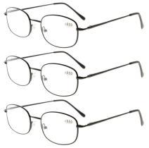 Eyekepper Metal Frame Spring Hinged Arms Reading Glasses 3 Pair Valupac Metal Readers Black +1.75