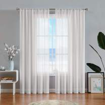 """Semi Sheer Linen Curtains for Living Room 95inch Long Cotton Feel Soft Linen Texture Window Treatment 54"""" W x 95"""" L/ Panel,Rod Pocket 2 Piece"""
