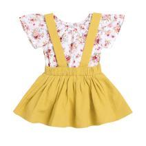 Weixinbuy Newborn Baby Girl Skirt Sets Floral Romper Tops + Overalls Skirt Dresses