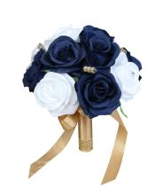 """Angel Isabella Build Your Wedding Package-Artificial Flower Bouquet Corsage Boutonniere Rose Calla Lily Navy Gold Wedding Theme (7"""" Bouquet)"""