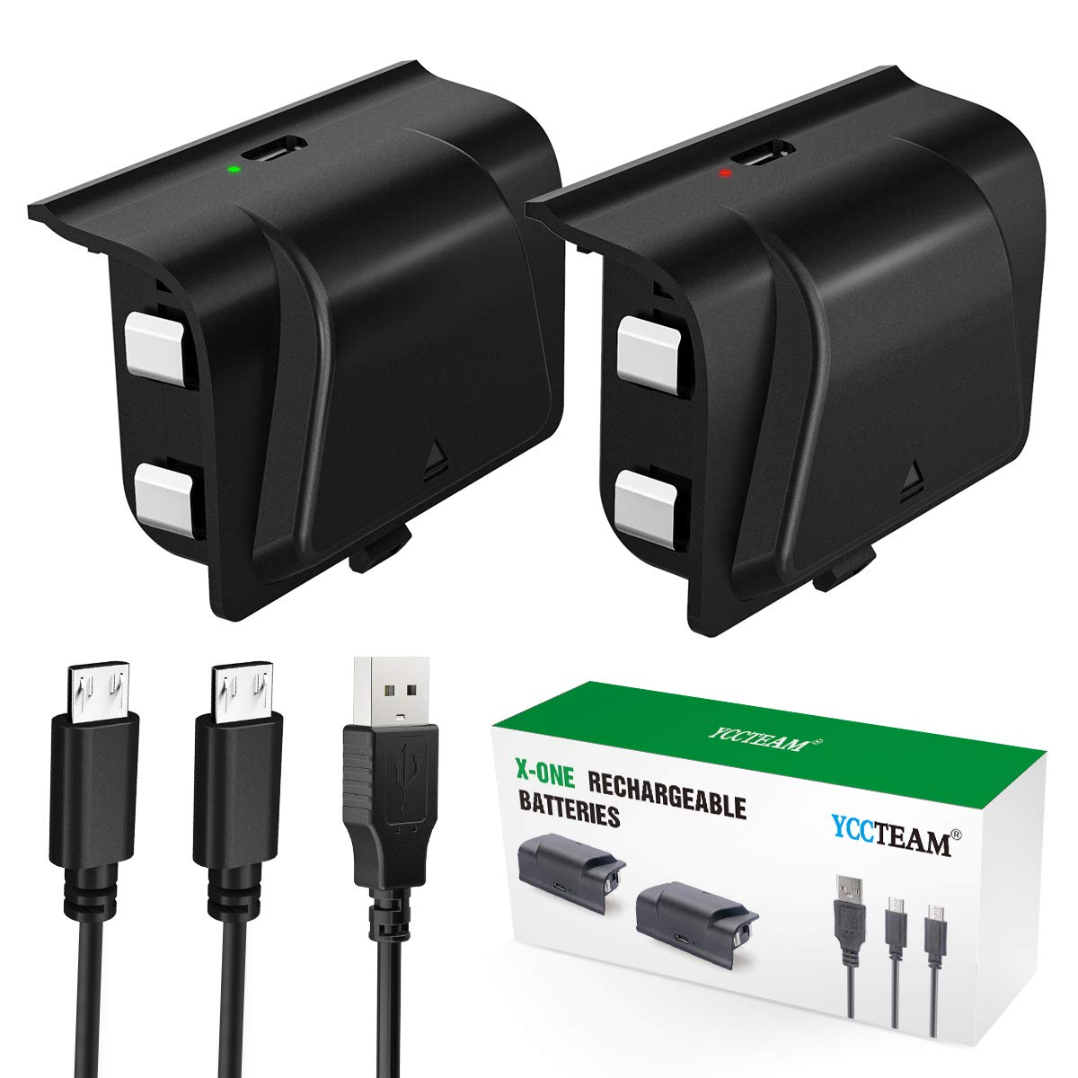 Battery Pack for Xbox One Controller, YCCTEAM 1200mAh Rechargeable Battery [2-Pack] for Xbox One/X/S/Xbox One Elite Wireless Controller with 5FT Micro USB Charging Cable and LED Charging Indicator
