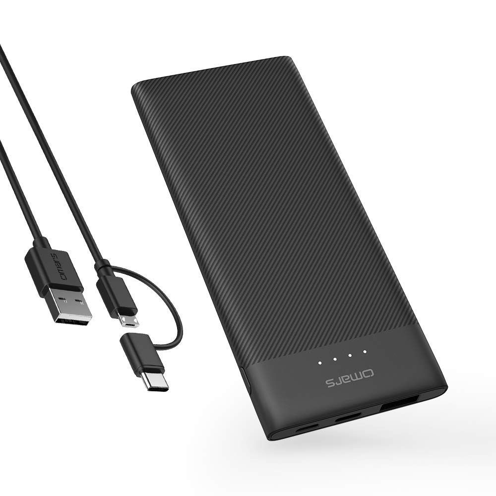 Omars 5000mAh Power Bank USB C Power Pack Portable Charger Slimline Battery Pack with USB-C & USB A Dual Output Compatible with iPhone X / 8/8 Plus, iPad, Galaxy S9 / Note 9, Sony, Huawei and More