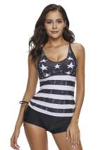 Reteron Women's 2 Pieces Stripe Print Boyshort Tankini Swimsuit M-XXXXL