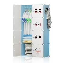 GEORGE&DANIS Portable Closet Wardrobe Plastic Dresser for Kids Teenagers Storage Cube Organizer Bookshelf Cabinet, Blue, 14 inches Depth, 2x4 Tiers