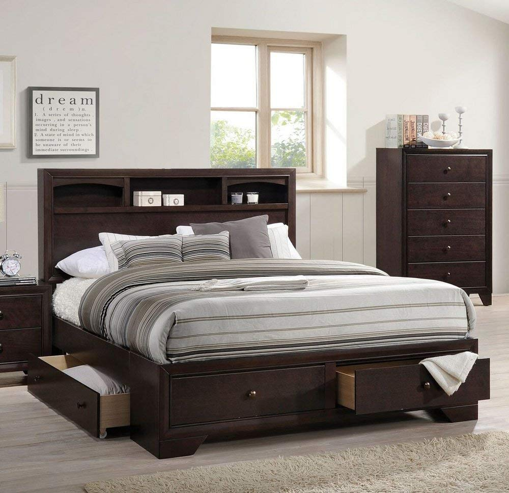 ACME Madison II Queen Bed w/Storage - - Espresso